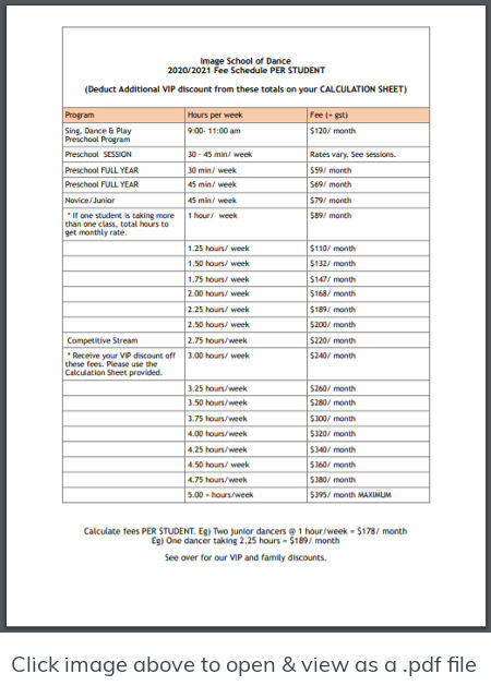 Tuition and fee schedule